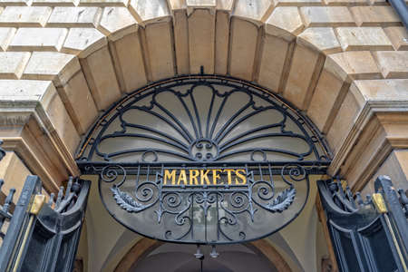 Entrance of Guidhall market in Bath, Somerset, UK