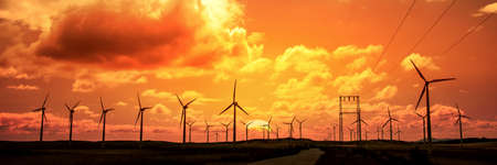 Wind turbine field at sunset, dramatic sky 版權商用圖片