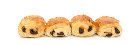 Pains au chocolat (french bakery products with chocolate) isolated on white background