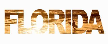 Word Florida with a surfer and the ocean at sunset on white background Stock Photo