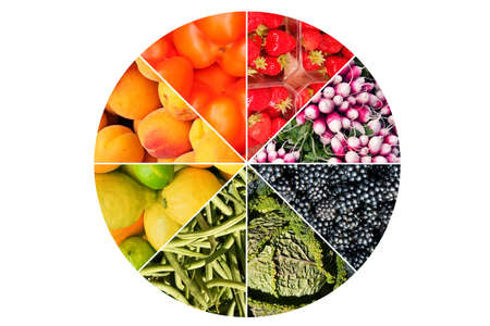Fruits an vegetables circle collage isolated on white background Stock Photo