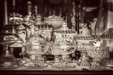 Vintage antique glassware, black and white photography Stock Photo