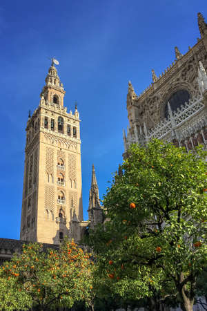 The Giralda, Bell tower of the cathedral of Seville, Andalusia, Spain