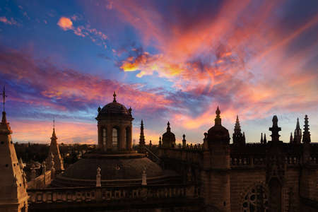 The roof of the cathedral of Seville at sunset, Andalusia, Spain