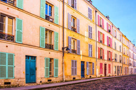 Colorful old building in Paris, France Stock Photo