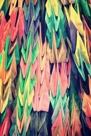 Paper cranes garlands at Hiroshima, Japan