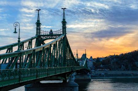 Liberty bridge at sunset in Budapest, Hungary