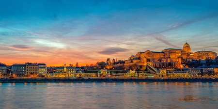 Buda castle and the Danube river in Budapest at sunset, Hungary Editorial