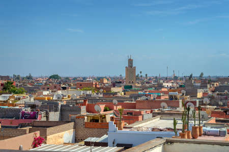 Aerial view of the roofs of Marrakech, Morocco