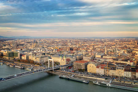 Aerial view of Budapest with the Danube river, Hungary