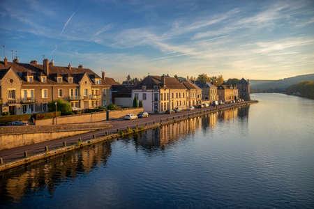 Sunset on Yonne river, Burgundy, France