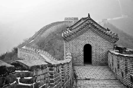 Great wall of China in Mutianyu near Beijing, black and white