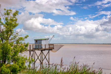 Old wooden fisher cabin on Gironde estuary, France