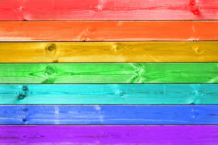 Pastel colorful rainbow painted wood planks background, flag concept Stock Photo