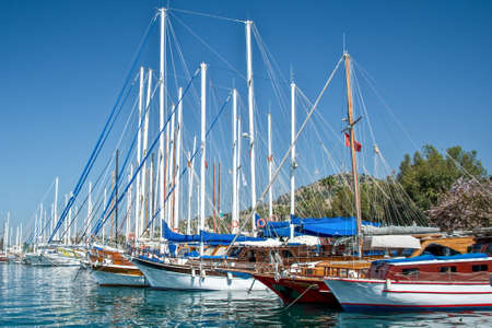 Sailboats in the harbor of Kos, Dodecanese island, Greece