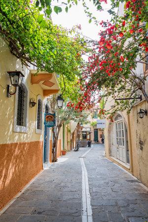 Pedestrian street in the old town of Rethymno in Crete, Greece Editöryel