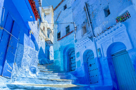 Street in the blue city of Chefchaouen in Morocco