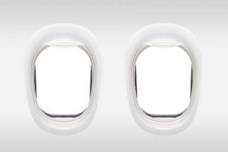 Blank windows of airplane from inside, aerial travel concept Stock Photo