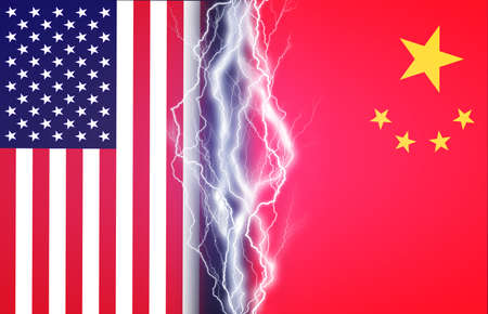 Vertical lightnings between flags of USA and China. Concept of crisis between two nations, Washington and Beijing