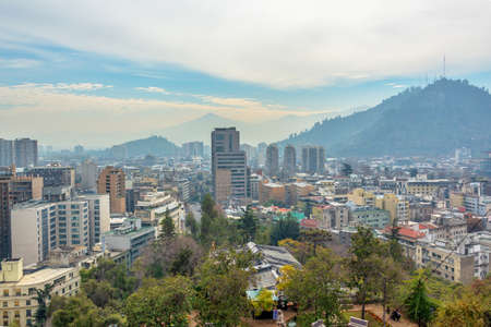 Aerial view of the city of Santiago, Chile Stock Photo