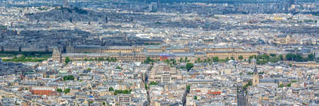 Aerial panoramic scenic view of Paris with the Louvre museum, France and Europe city travel panorama