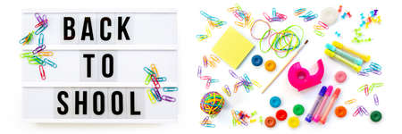 Panorama of colorful school supplies  isolated on white. Back to school concept