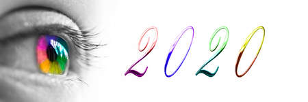 2020 and colorful rainbow eye headeron panoramic white background, 2020 new year greetings concept Stockfoto