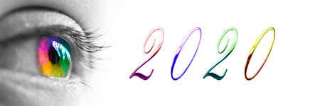 2020 i kolorowy nagłówek tęczowego oka na panoramicznym białym tle, koncepcja życzeń noworocznych 2020