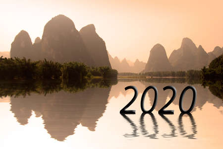 2020 written in asian landscape at sunset