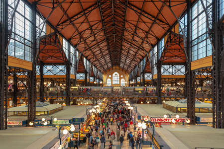 Aerial view of Central market hall in Budapest, Hungary