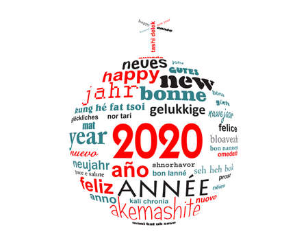 2020 new year multilingual text word cloud greeting card in the shape of a christmas ball Stock Photo