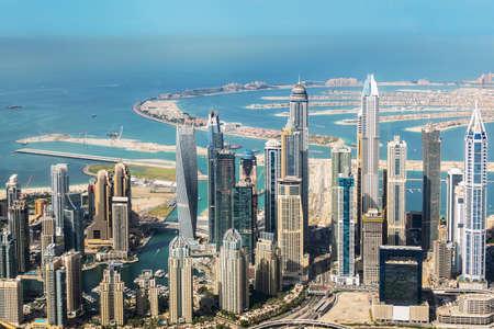 Aerial view of Dubai Marina skyline and Palm Jumeirah, United Arab Emirates Imagens
