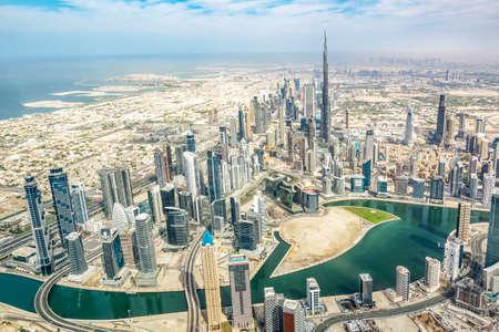 Aerial view of Dubai skyline, United Arab Emirates