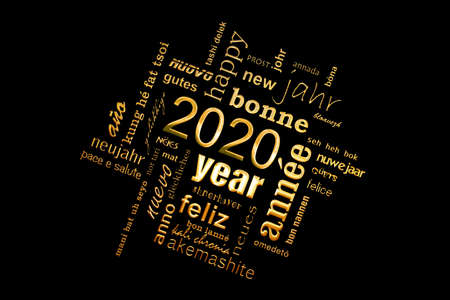 2020 new year multilingual golden text word cloud square greeting card on black background Stock Photo