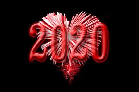 2020, red fireworks in the shape of a heart