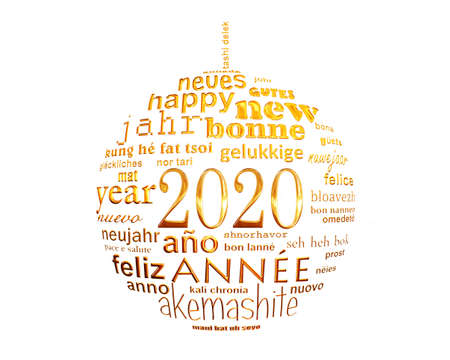 2020 new year white and gold multilingual text word cloud greeting card in the shape of a christmas ball