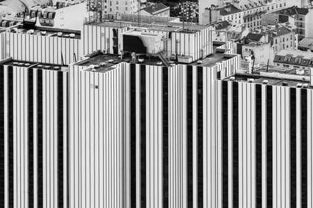 Modern building facade in Paris France. Minimal black and white architecture photography. Pullman hotel Paris Montparnasse Zdjęcie Seryjne