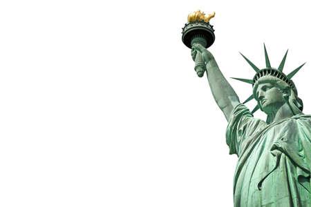 Primo piano della Statua della Libertà a New York, Stati Uniti d'America. Isolato su sfondo bianco con copia spazio Archivio Fotografico