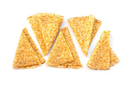 Close up on folded crepes (french pancakes) isolated on white background Banco de Imagens