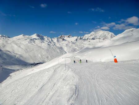 Panorama of ski slopes at Tignes, ski resort in the Alps, France Banco de Imagens