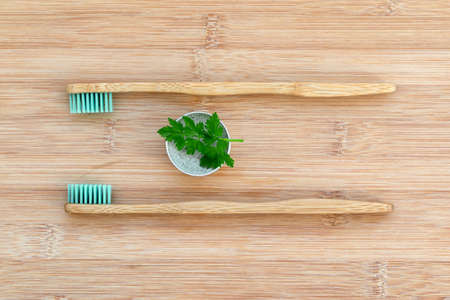 Set of two bamboo toothbrushes and solid toothpaste on wood background. Zero waste, plastic free, environment concept