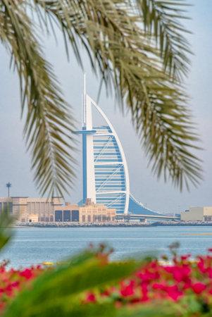 View on Burj al arab Jumeirah and palm tree in Dubai, United Arab Emirates