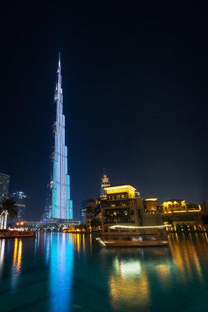Burj Khalifa tower in Dubai illuminated at night, United Arab Emirates