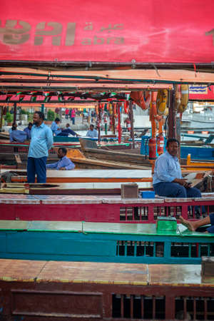 Abras, old traditional small wooden boats in Du Bai creek, United Arab Emirates