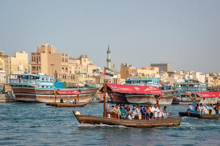 Traditional wooden boats in Dubai creek, United Arab Emirates Editorial