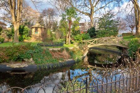 Square Voyer dArgenson, an historical public park in Asnières-sur-Seine near Paris, France