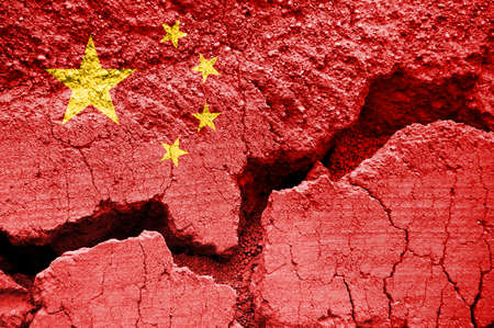 Chinese flag on cracked background. Coranavirus is China, health crisis and emergency concept