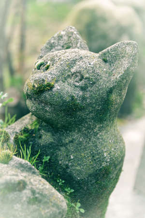 Cute mossy stone cat statue in the pet cemetery of Paris in Asnières-sur-Seine, France. The Cemetery of dogs and other domestic animals is the oldest pet cemeteries in the world