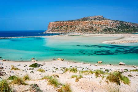 Balos beach and Gramvousa island near Kissamos in Crete, Greece Banco de Imagens