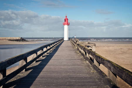 Panoramic view of the Trouville lighthouse and its wooden pier, Normandy, France